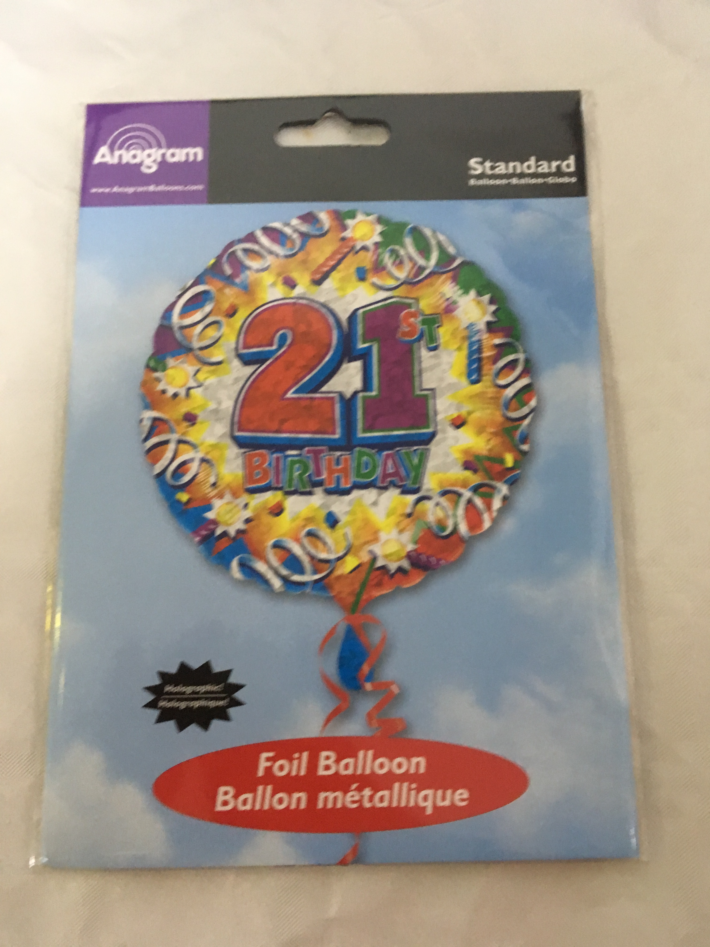 Age 21 multicoloured streamers holographic foil balloon