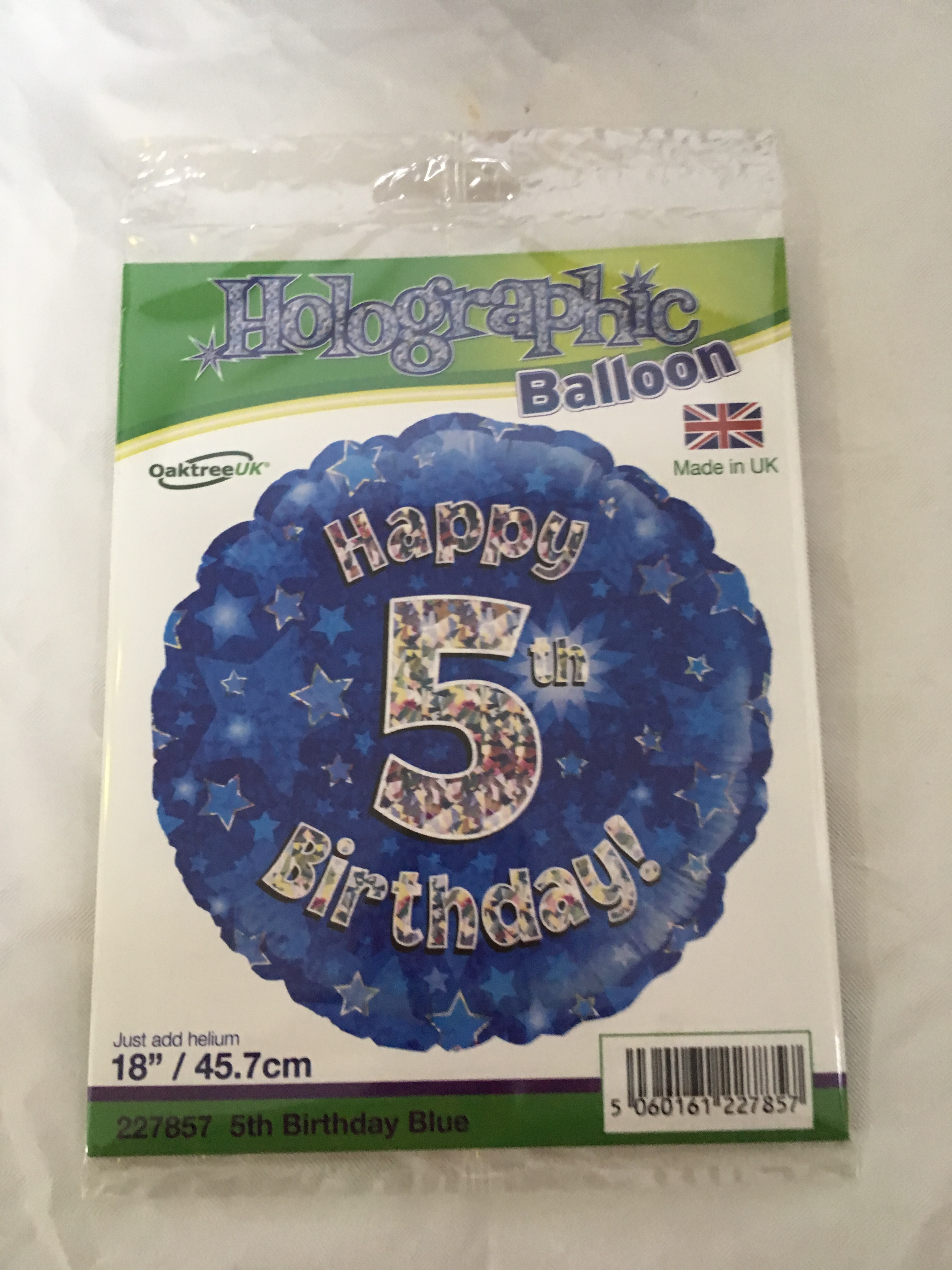 Age 5 blue and silver foil balloon