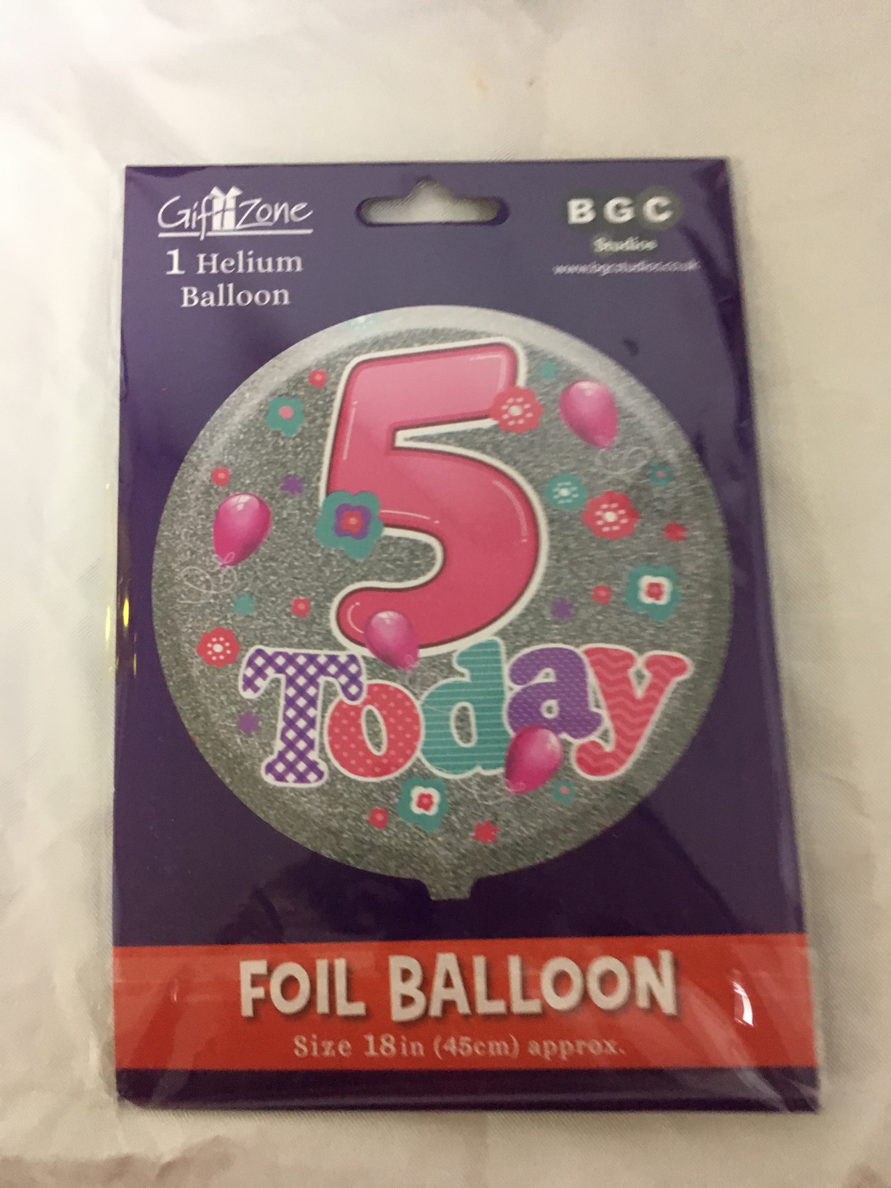 Age 5 pink and silver foil balloon